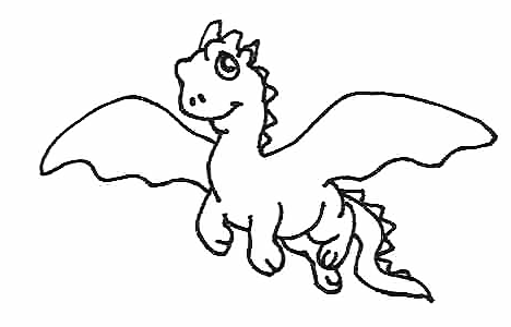 picture coloring book: Clipart Chinese Dragon Flying Black Whiteroyalty